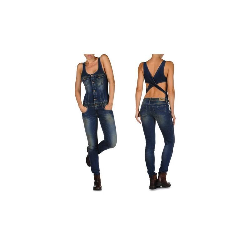 Macacão Feminino Jeans Costas Vazadas