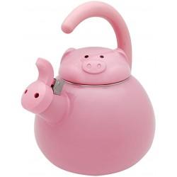 Chaleira Decorativa Rosa Pink Porquinho com Apito