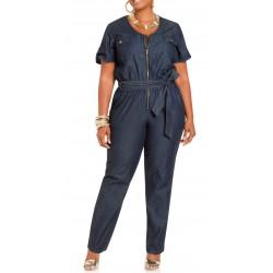 Macacão Feminino Jeans Ziper Laço Plus Size