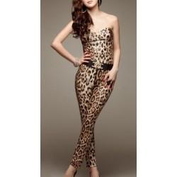 Macacão Feminino Leopardo Oncinha Tomara que Caia