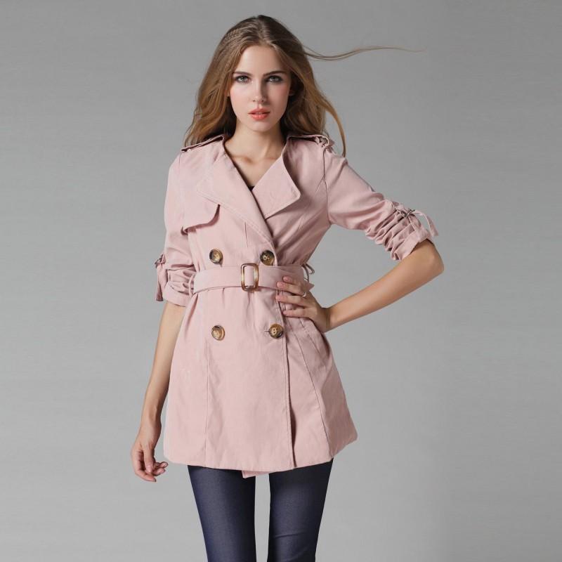 Casaco Feminino Trench Coat Rosa