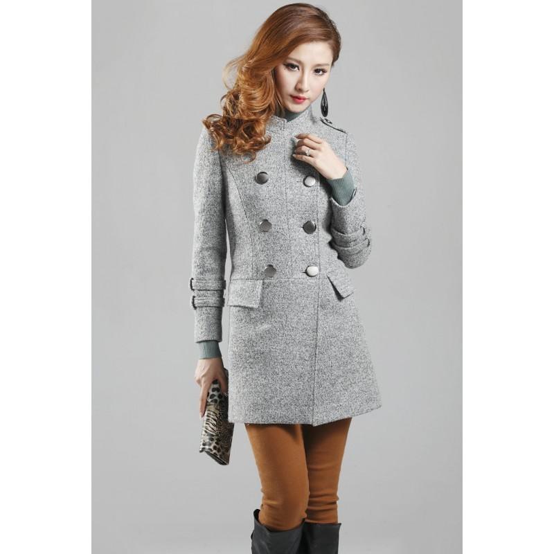 Casaco Feminino Trench Coat Cinza