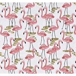 Tecido tricoline flamingo...