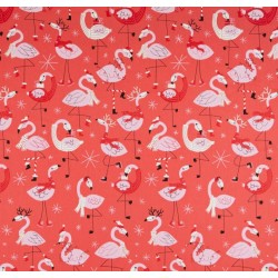 Tecido tricoline flamingos...