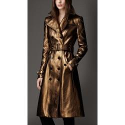 Casaco Feminino Trench Coat Burberry Metálico Marrom