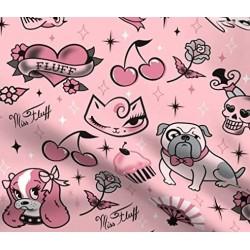 Tecido rosa estampa pets...