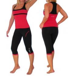 Conjunto Regata e Calça Capri Moda Fitness Vermelha e Preta