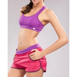 Bermuda e Top Shorts Feminino Moda Fitness Roxa Rosa