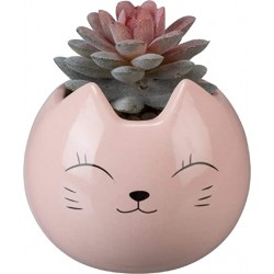 Vaso gatinho rosa cerâmica...
