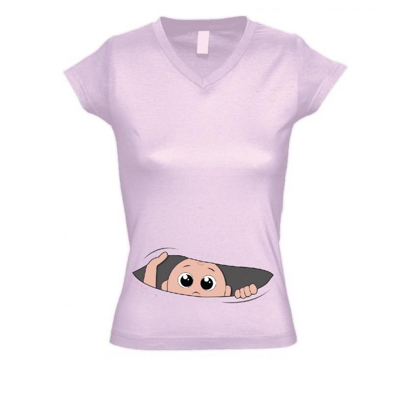 Blusa Camiseta Rosa Moda Gestante Maternidade com Desenho
