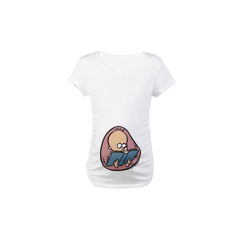 Camiseta Moda Gestante Branca Maternidade com Desenho