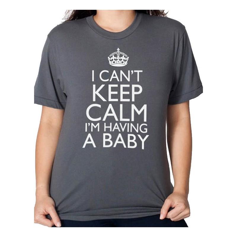 Blusa Camiseta Cinza Gestante Frase Temática