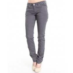Calça Jeans Feminina Cinza Estampada
