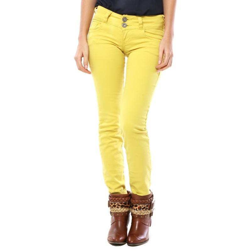Calça Sarja Amarela Cós Médio Skinny