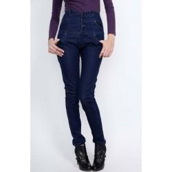 Calça Jeans Feminina Azul Cós Alto Botões