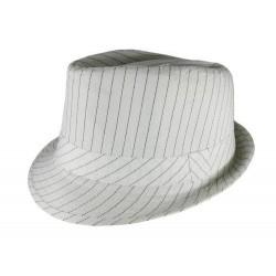Chapéu Feminino Risca de Giz Branco