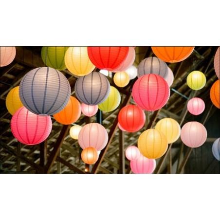 Lanterna de Papel Chinesa Decoração de Festas 20cm Coloridas 12UN