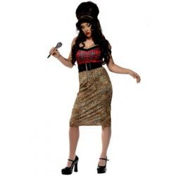 Fantasia Feminina Amy Winehouse com Peruca Festa Halloween