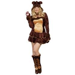 Fantasia Feminina Urso Marrom Festa Halloween Adulto