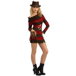Fantasia Feminina Miss Freddy Krueger  Festa Halloween