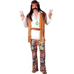 Fantasia Masculina Anos 60 Hippy de Woodstock Festa Halloween