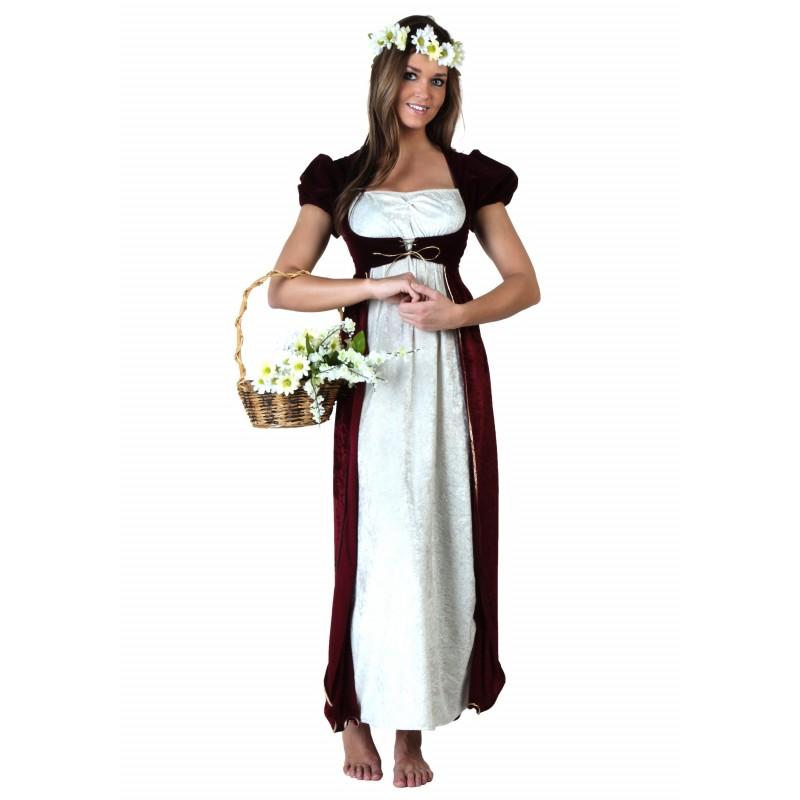 Fantasia Feminina Camponesa Medieval Festa Halloween